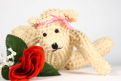 Bear With Rose. A cute little teddy bear laying on a white background with a bright red silk rose. A cute photo for Valentines Day or any day Royalty Free Stock Image