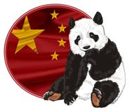 Bear and round flag. Cute panda peek up from round banner with China flag Stock Image