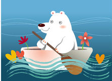 Bear row boat. Polar bear rowing boat on lake. Water wave around the boat and some flower and love beside the bear Stock Images