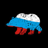 Bear Russia flag emblem. National Traditional Russian predator Stock Photography