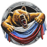 Bear with the Russian flag Stock Photo