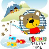 Bear`s fishing time. Vector cartoon of Bear fishing on landscape background. EPS 10 Royalty Free Stock Image