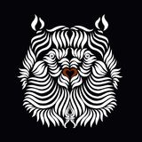 Bear`s head, drawn in smooth white lines on a black background.  Royalty Free Stock Photos