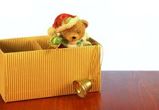 Bear santa claus in box isolated Stock Photo