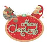 Bear and Santa Claus talking by phone. Christmas greeting card, bear and Santa Claus talking by phone Vector Illustration