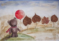 Bear in a scarf with balloon and trees - dry leaves Royalty Free Stock Image