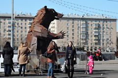 Bear sculpture in Moscow Stock Images