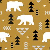 Seamless vector pattern with polar bears and geometric decoration. royalty free illustration