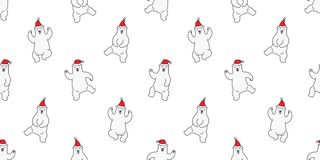 Bear seamless pattern Christmas vector polar bear dance Santa Claus Hat tile background repeat wallpaper illustration cartoon royalty free illustration