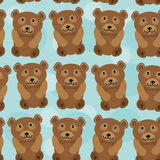 Bear Seamless pattern with funny cute animal on a blue backgroun Stock Photo