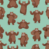 Bear seamless pattern. Grizzly ornament. Set wild animal. Forest Stock Photos