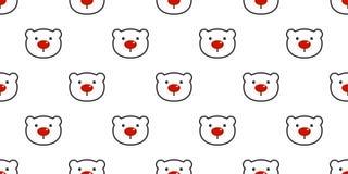 Bear seamless pattern polar bear vector Christmas red nose panda teddy cartoon scarf isolated tile background repeat wallpaper ill vector illustration