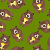 Bear seamless pattern. Vector background of wild animals Stock Photos