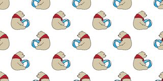 Bear seamless pattern vector Polar Bear cartoon red scarf ball illustration doodle isolated wallpaper background. Bear seamless pattern vector Polar Bear cartoon vector illustration