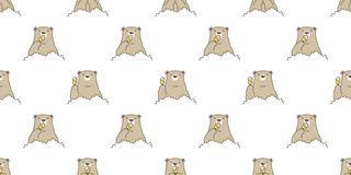 Bear Seamless Pattern Vector Polar Bear Ice Cream Cartoon Forest