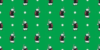 Bear seamless pattern vector polar bear teddy baseball wallpaper isolated background stock illustration