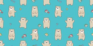 Bear seamless pattern vector polar bear teddy happy mushroom forest isolated background wallpaper royalty free illustration