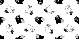 Bear seamless pattern vector sunglasses travel bag traveller polar bear cartoon scarf isolated repeat wallpaper tile background il. Lustration cute royalty free illustration