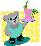 Bear Server with Pink Drink Stock Images