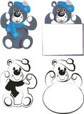 Bear set. With message board Stock Images