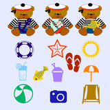 Bear set. Little sailor teddy bears set and summer items Stock Image