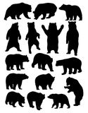 Bear Set Silhouettes Stock Photos