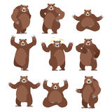 Bear set on white background. Grizzly various poses. Expression. Of emotions. Wild animal yoga. Eevil and good. Sad and happy animal. Big strong predator thumbs royalty free illustration