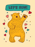 Bear with sign lets hug and hearts greeting card Royalty Free Stock Image