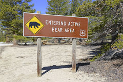 Bear sign in the recreation area Stock Images