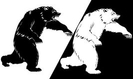 Bear silhouette black and white. Vector illustration Royalty Free Stock Image
