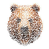 Bear silhouette consisting of  circle. Abstract creative symbol on white background for design elements. illustrations made in the technique of small dots Stock Photo