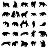 Bear silhouettes set. On white background Royalty Free Stock Image