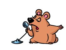 Bear sings cartoon illustration Stock Photos