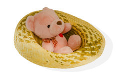 Bear sitting in bamboo hats. Stock Images