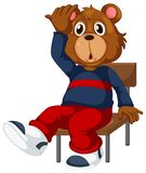 A bear sitting on a chair. Illustration stock illustration