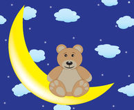 Bear is sitting on the moon Stock Photography