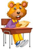 Bear sitting in school desk. Illustration stock illustration
