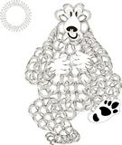 Bear sketch, thin black line on white, coloring page anti stress Stock Image