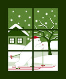 Bear skier outside window Royalty Free Stock Photo
