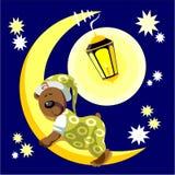Bear sleep on moon color 17. Vector. Bear sleep on moon color 17 Stock Photos