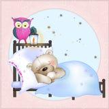The bear sleep. Bear sleeping sweetly in the crib Royalty Free Stock Photo