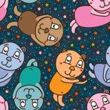 Bear sleep sweet star seamless pattern vector illustration