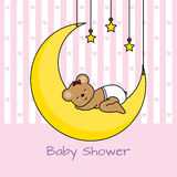 Bear sleeping on the moon. Baby girl shower card Stock Images