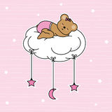 Bear sleeping on the moon cloud. Baby girl shower card Royalty Free Stock Images