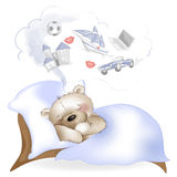 The bear sleeps and dreams about the gifts Royalty Free Stock Image