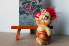 Bear. Small cute ceramic bear with heart Stock Photo