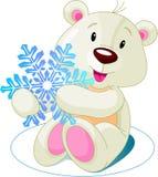 Bear_snow. Cute white bear holding snowflake Stock Photography