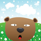 Bear and snow in the forest Stock Image