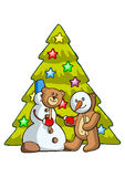 Bear and snowman Royalty Free Stock Images