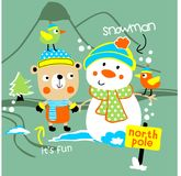 Bear & snowman vector. For wallpaper wall Royalty Free Stock Photography